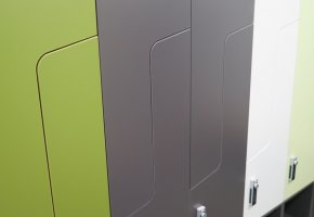 Light green, grey and white attached timber laminated locker for washroom, bathroom and shower