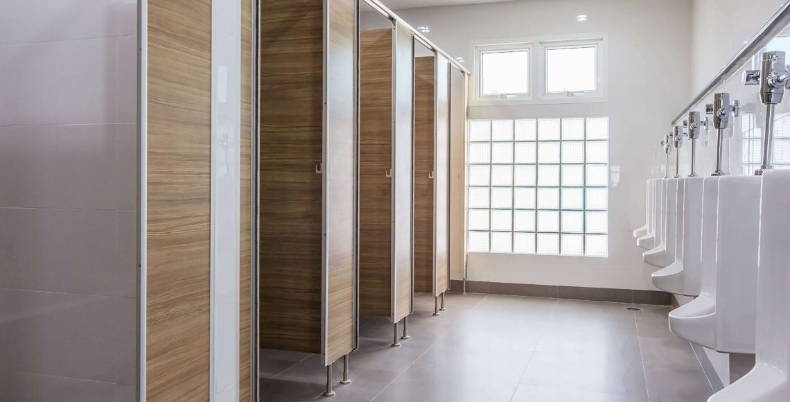 clean toilet partitions in a restroom