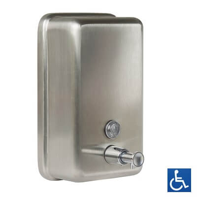 Material #304 Stainless Steel, 0.8mm Thick Finish Satin Stainless Steel (SSS) Mounting Surface Mount Concealed Fix Capacity 1.2L Features Pump action soap dispenser valve Impact resistant liquid level indicator Lockable hinged lid (key provided) Anti corrosion internal nylon lining Note * This unit is accessible compliant when installed in accordance with AS1428.1. guidelines. Related Video Stainless Steel Cleaning & Maintenance