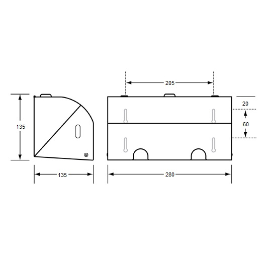ML835 Dual Lockable Toilet Roll Holder Drawing