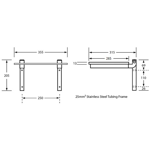 ML992CL Fold Away Shower Seat Drawing