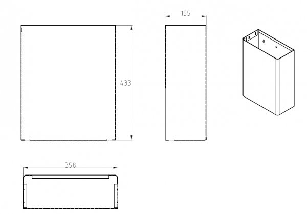 ml921 23l wall mount waste receptacle drawing
