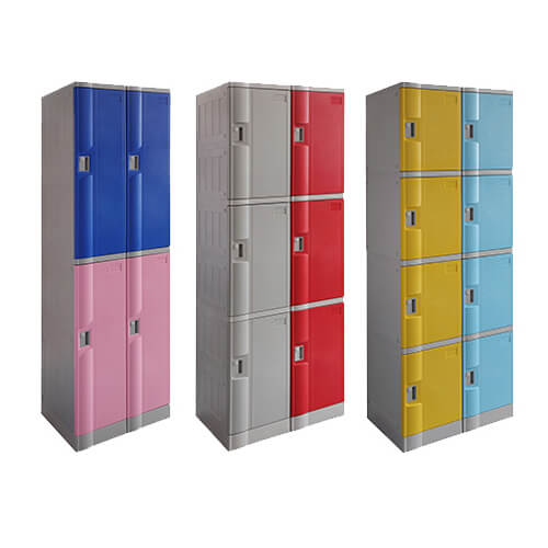 blue & pink 2 tier plastic locker , red & grey 3 tier plastic locker and yellow and sky blue 4 tier plastic locker