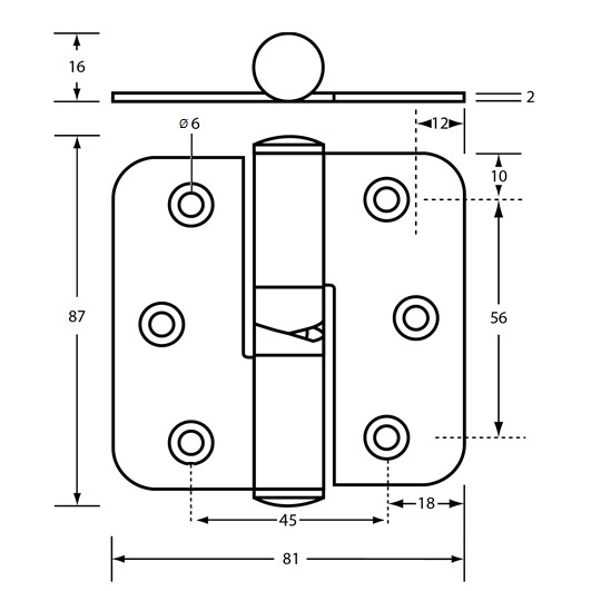 207SS Concealed Fix Gravity Hinge Drawing